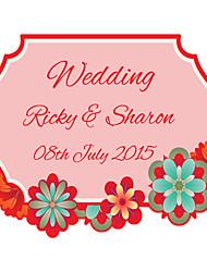 Personalized Wedding Tags Address Labels Envelope Sticker Contour Cut Flower Pattern Of Filmed Paper