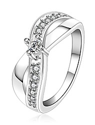 Wholesale Silver Plated Ring Fashion Crystal Jewelry Inlaid stone Cross Ring Cz Zirconia Ring X word shaped Women Accessories