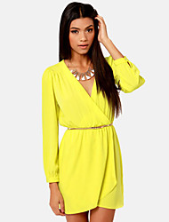 Women's Green/Yellow Dress , Sexy Long Sleeve
