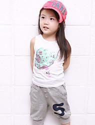 Girl's Cotton Blend Leisure Ice-Cream Print Sleeveless Clothing Set