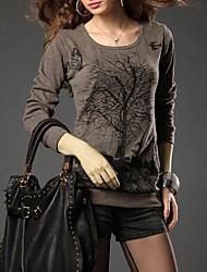 Ronde hals - Katoen/Bont - Pailletten/Geborduurd/Bloem - Vrouwen - T-shirt - Lange mouw