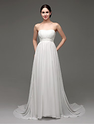 A-line Sweep/Brush Train Wedding Dress -Strapless Chiffon