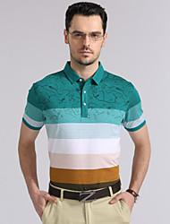 Men's Casual/Sport/Plus Sizes Striped Short Sleeve Regular Polo T shirt(Cotton)