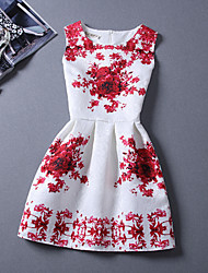 A STYLE  Women's New Casual Print Round Sleeveless Dresses