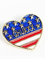 Fashion Peach Hearts Brooch British Flag Design Shirt Collar Button