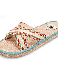 pur à la main chaussures pour femmes jute crochet plat sandale