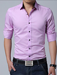 Men's Fashion Solid Business Slim Long Sleeved Shirt