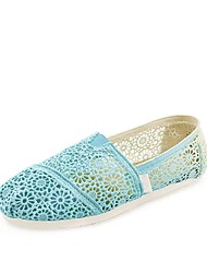 Women's Shoes Lace Spring / Summer / Fall Comfort Office & Career / Casual Flat Heel Slip-on Green / Pink
