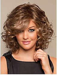 Light Brown Mix Full-Volume Curls Heat-resistant Fiber Medium Synthetic Hair Wig fast Shipping