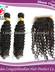 """2 ps 16 """"pacchi capelli w / 1 pc 14"""" 4 * 4 parte libera chiusura superiore brasiliana vergine # 1b onda profonda dei capelli umani di 100%"""