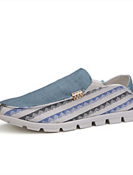 Men's Shoes Casual Linen Loafers Blue/White