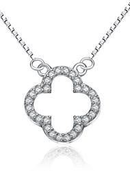jazlyn® platina autêntica banhado a 925 libras esterlinas mulheres prata trevo de quatro folhas 1 milímetro cúbico ligação zircônia colar