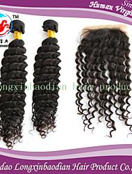 """2 pezzi 14 """"fasci di capelli, 1 pc 14"""" 4 * 4 chiusura libero parte Remy non trattato colore naturale peruviano capelli onda profonda"""