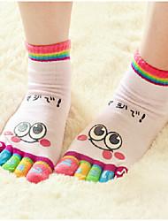 Women Cute Cartoon Smile Print Separate Toe Socks Five Divided Fingers Socks 5 Pairs