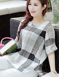 Women's New Simple Plaid Round Short Sleeve Loose T-shirt