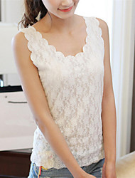 Women's Sexy/Lace Micro-Elastic Sleeveless Regular Vest (Lace)