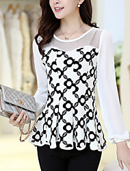 Women's Casual/Daily Simple Summer Blouse,Print Round Neck Long Sleeve White / Black Medium