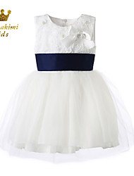 Girl White Satin Soutache Wedding Dress With Flower