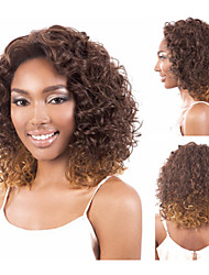 Sexy Ombre Synthetic Wigs Medium Length Kinky Curly Hair African American Wigs for Black Women