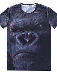 Herren Freizeit T-Shirt  -  Druck Kurz Baumwollmischung