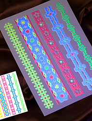 4pcs 2016 fluoreszierende temporäre Tätowierung Aufkleber Halskette hand Kette taty gefälschte Tätowierung taty