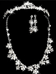 Elegant Marvelous Ladies Rhinestone Wedding Jewelry Set Including Necklace,Earrings,Tiara