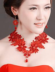 Bride Wedding White Mesh Diamond Noble Flower Earring Headdress Set