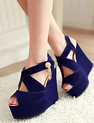 DOPO Women's Shoes Blue Wedge Heel 12cm and up Sandals