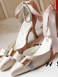 Feminino Wedding Shoes Saltos/Bico Fino Saltos Casamento/Festas & Noite Branco/Champagne