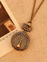 collar de cuarzo reloj de bolsillo antiguo de la vendimia de la moda de bronce caso del pavo real hueco relojes mujeres hombres hijos