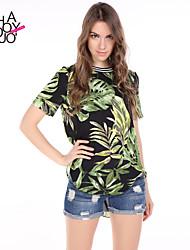 haoduoyi® Women's Tropical Plants Printed Stepped Hem Loose T-shirt