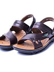 Men's Shoes Casual Leather Sandals Brown/Khaki