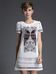 2015 new large size women sexy loose Toucan thin short sleeved Chiffon printing A dress Women's CLOTHING STYLE