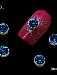 001 10pcs/lot Beauty Nail Alloy Silver Metal 3D Blue Rhinestone Nail Art Slice DIY Cellphone Case Dress Decoration