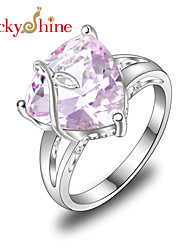 Lucky Shine Women's/Kid's Unisex Silver Classic Rings With Gemstone Fire Triangle Pink Topaz Crystal