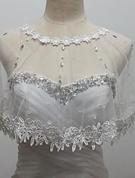 boda envuelve boleros sin mangas de tul / lentejuelas bolero encogimiento blanco
