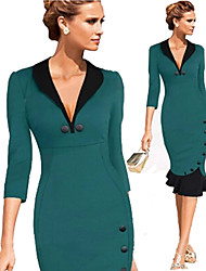 Luoluo Women's Work Tailored Collar ¾ Sleeve Dresses (Cotton/Polyester)