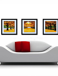 Oil Painting Decoration Abstract Golden Road Hand Painted Canvas with Stretched Framed - Set of 3