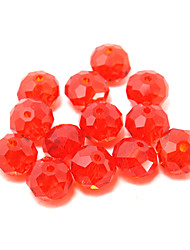Beadia 80PCS 8x10mm Crystal Beads Flat Round Shape Glass Facetted Red Color DIY Spacer Loose Beads