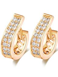 BIN BIN Women's Fashion Trend Hollow Out 18K Gold Plated White Zirconium Earrings