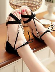 Women's Shoes Black Wedge Heel 0-3cm Sandals (PU)