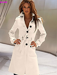 FOREVER LOVE®Women's Casual Bodycon Fashion Medium Long Sleeve Long Trench Coat