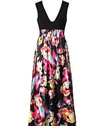 Women's Multi-color Dress , Casual Sleeveless