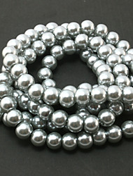 Beadia 2 Str(approx 230pcs) Glass Beads 8mm Round Imitation Pearl Beads Gray Color DIY Spacer Loose Beads