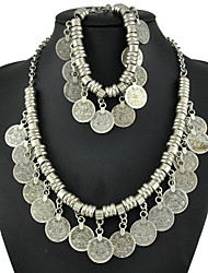 Bohemia National Wind Restoring Ancient Ways Tassel Necklace Bracelet Sets Metal COINS