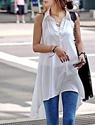 Women's White Shirt , Shirt Collar Sleeveless