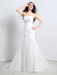 Trumpet/Mermaid Wedding Dress-Sweep/Brush Train Strapless Tulle