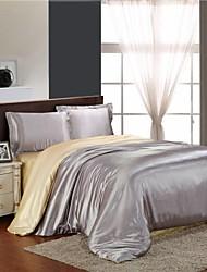 Mingjie gelo de prata de seda e camelo lixar conjuntos de cama 4pcs define capa de edredão queen size e king size