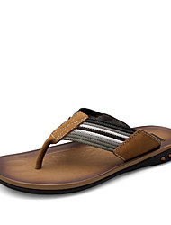 Men's Summer Flip Flops Leather Casual Stitching Lace Brown / Khaki