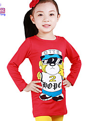 Waboats Spring Fall Girls Cartoon Printed Joker Top Shirt